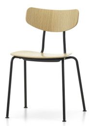 Vitra Moca Chair Natural Oak / Powder-Coated Base - Front Angle View