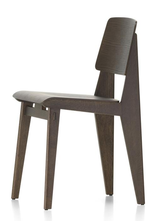 vitra chaise tout bois chair by jean prouve - dark oak - side view