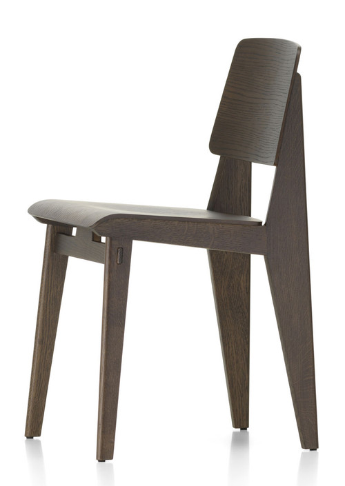 vitra chaise tout bois chair by jean prouve - dark oak - side view