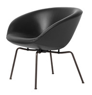 Fritz Hansen Pot Lounge Chair - Aura Leather Black - Powder-Coated Dark Brown Base