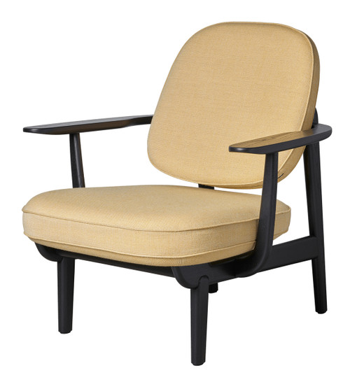Fritz Hansen Fred Lounge Chair - Christianshavn Yellow - Black Stained