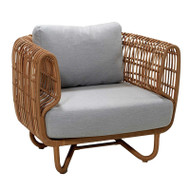 Cane-Line Nest Lounge Chair - Natte Light Grey - Outdoor - Front Angle View