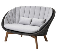 Cane-Line Peacock 2 Seater Sofa - Outdoor - Dark Grey Soft Rope - Natte Light Grey Cushions