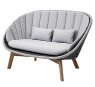 Cane-Line Peacock 2 Seater Sofa - Outdoor - Grey/Light Grey Cane-Line Weave - Natte Light Grey Cushions