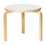 Artek 90D Table by Alvar Aalto - Legs & Edge Band Clear Lacquered Birch - Top White HPL