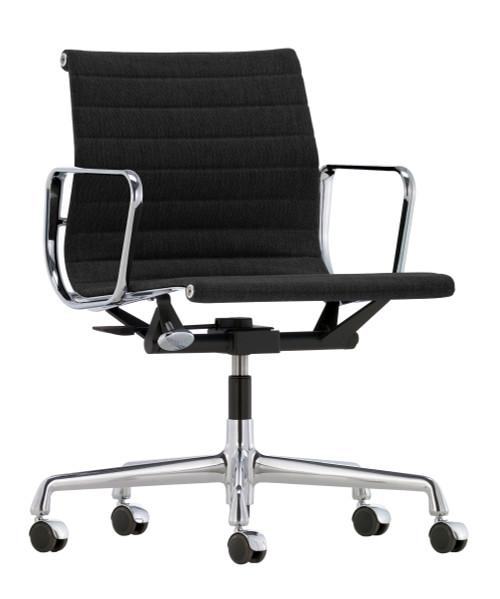 Vitra Eames Aluminium Chair EA 118 - Hopsak Fabric Nero - Chromed Frame - Front Angle View 2