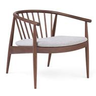 L.Ercolani Reprise Lounge Chair - Walnut - Upholstered - Kvadrat Hallingdal K116 - Front Angle