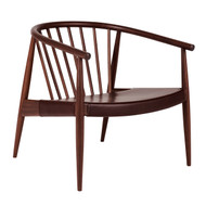 L.Ercolani Reprise Lounge Chair - Walnut - Harness L107 Hide Seat - Front Angle