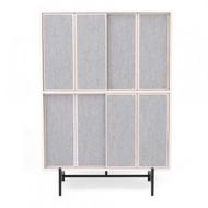 L.Ercolani Canvas Tall Cabinet - Ash - Fabric Doors