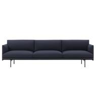 Muuto Outline 3.5 Seater Sofa - Kvadrat Vidar 554 - Black Powder-Coated Aluminium Base