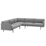 Muuto Outline Corner Sofa - Kvadrat Hallingdal 166 - Black Powder-Coated Aluminium Base