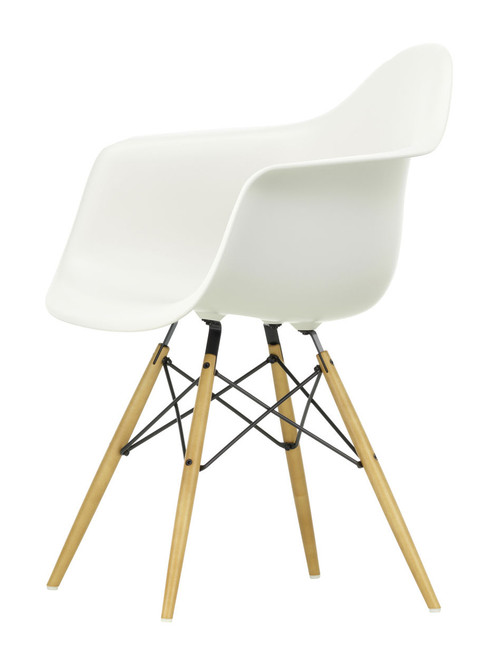 Vitra Eames Plastic Armchair DAW - 04 White - Golden Maple - Front Angle