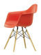 Vitra Eames Plastic Armchair DAW - 03 Poppy Red - Golden Maple - Front Angle