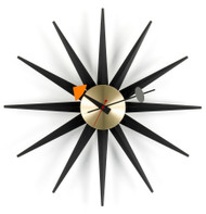 Vitra Sunburst Clock - Black Ash & Brass
