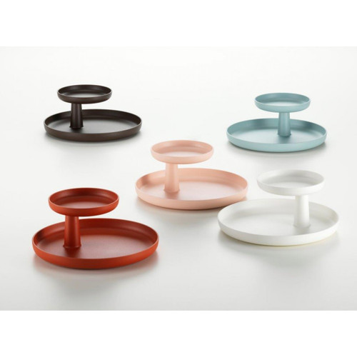 The Rotary Tray from Vitra shown here in various subtle colours from Vitra and available at Papillon Interiors.