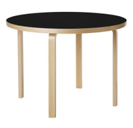 Artek 90A Table by Alvar Aalto - Legs & Edge Band Clear Lacquered Birch - Top Black Linoleum