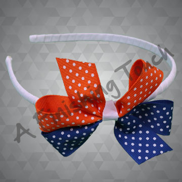 134- Small Two-Tone Basic Bow, headband sold separately