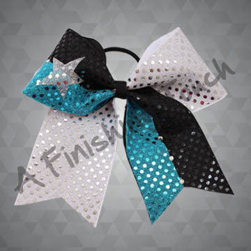 842- Two-Layer Two-Loop Two-Tone Cheer Bow with Classic Rhinestones