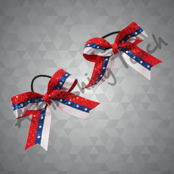 905PT- Three-Layer Two-Tone Cheer Pigtails with Classic Rhinestones