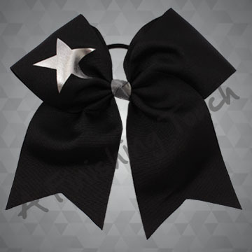112H- Basic Short Tailed Cheer Bow with Star
