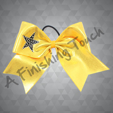 112RHG- Competition Short Tailed Cheer Bow with Classic Rhinestone Star