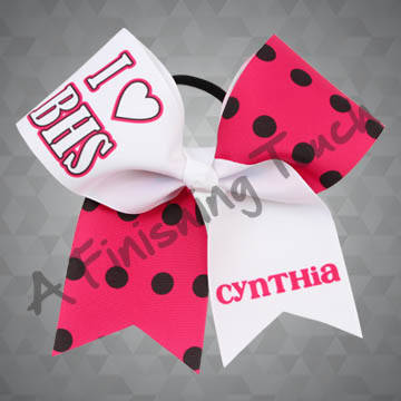 "924D- Large I ""Heart"" with Name Cheer Bow"