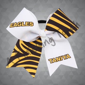 924S- Large Fun Design Cheer Bow with Name