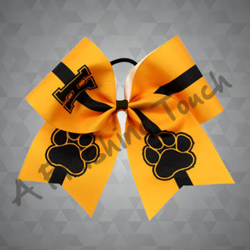 900- Large Initial with Two Large Paws Cheer Bow