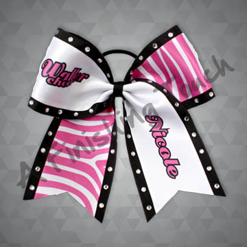 "916- School ""Cheer"" Bow with Individual Name"