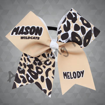 924J- Large School and Mascot Name with Individual Name Cheer Bow