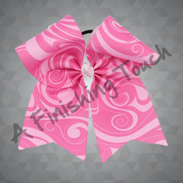 924O- Large Pink Cheer Bow with Swirls