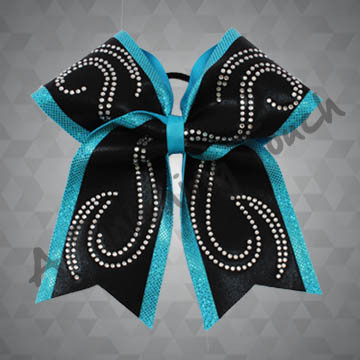947- Two-Layer Cheer Bow with Swirly Classic Rhinestones