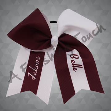 924F1- Large Two-Tone Cheer Bow with Partial Stripes