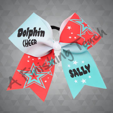 924Z- Large Two-Tone Cheer Bow with Stars