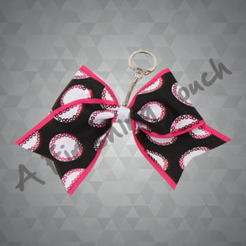G134- Sublimated Bow Keychain w/Sequins