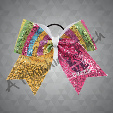 """991- """"Love Cheer"""" Bow with Sequins"""