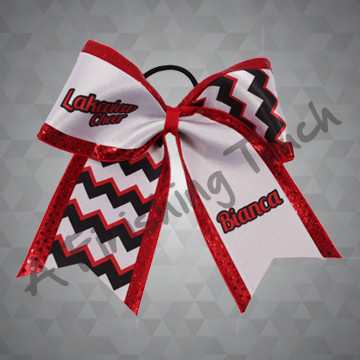 "1001- Team Name ""CHEER"" & Individual Name Chevron Cheer Bow"