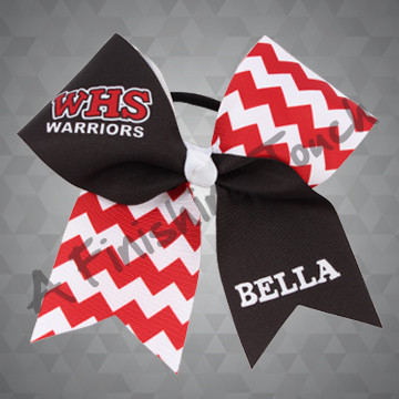 1003D - School Name & Mascot, Individual Name Chevron Cheer Bow