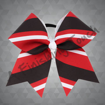 924M2B-Three Color Stripes Cheer Bow