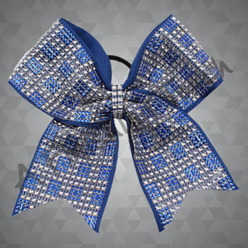 1163- Square Rhinestone Mesh Cheer Bow