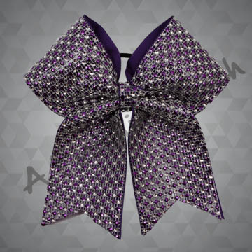 1164- Two-Color Rhinestone Mesh Cheer Bow