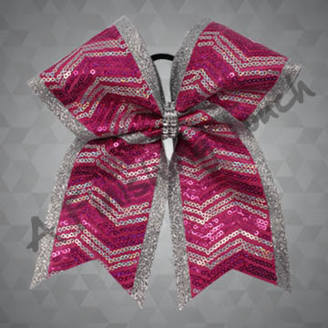 1178- Two Layer Glitter Cheer Bow with Sequin Fabric