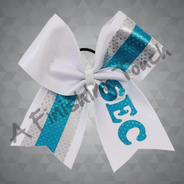 1233- Two Tone Glitz Bow with Cut-Out Letters