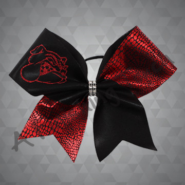1275- Two Tone Glitz Bow with Custom Glitter Mascot