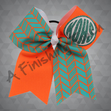 1303- Monogram & Herringbone Cheer Bow with Glitter