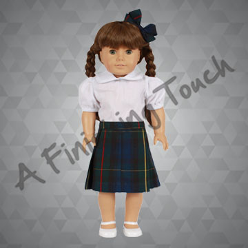 FT122- Pleated Doll Skirt with Blouse & Bow for 18 inch doll