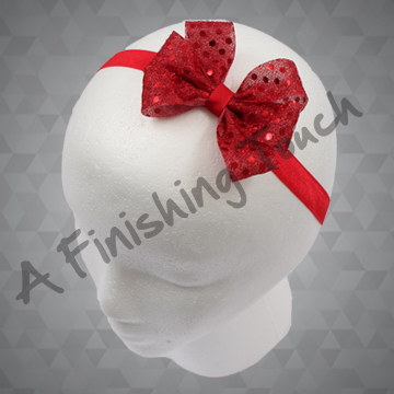 1322- Sequin Dot Six-Loop Bow on Elastic Headband
