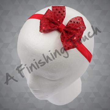 1322- Sequin Dot Six-Loop Bow on Elastic Headband