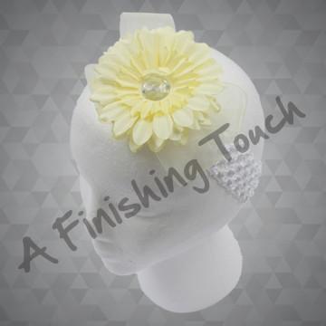 1325- Flower w/Rhinestone and Sheer Bow on Crochet Headband