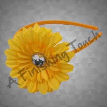 1329- Flower w/Rhinestone on Tiny Headband